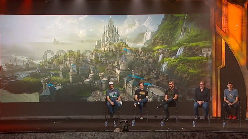 Here's some film people sat in front of some more Warcraft movie concept art.