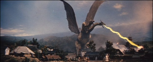 Ghidorah wrecking all kinds of shit.