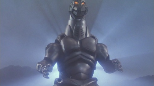 Naturally Mechagodzilla always brings his own set of stadium lights with him.