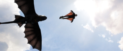 Oh yeah, Hiccup can glide and stuff now cos he invented wingsuits.